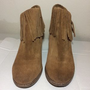 Lucky Brand Shoes - Lucky Brand Suede Fringe Wedge Booties